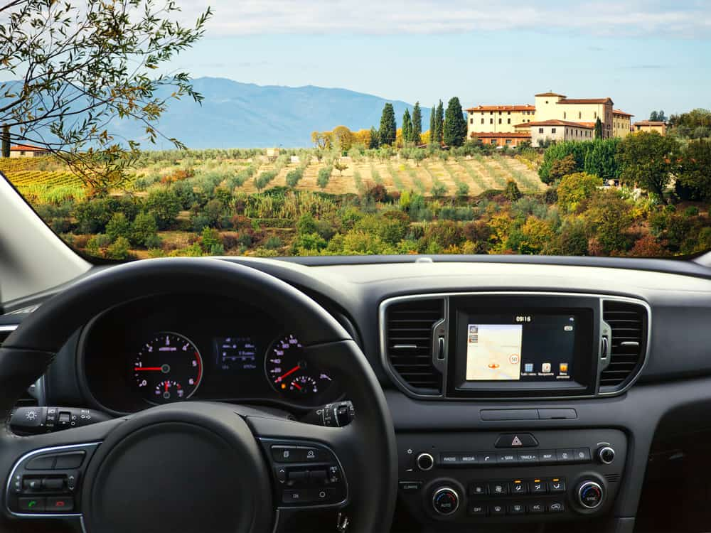 renting a car in Italy shown in tuscany