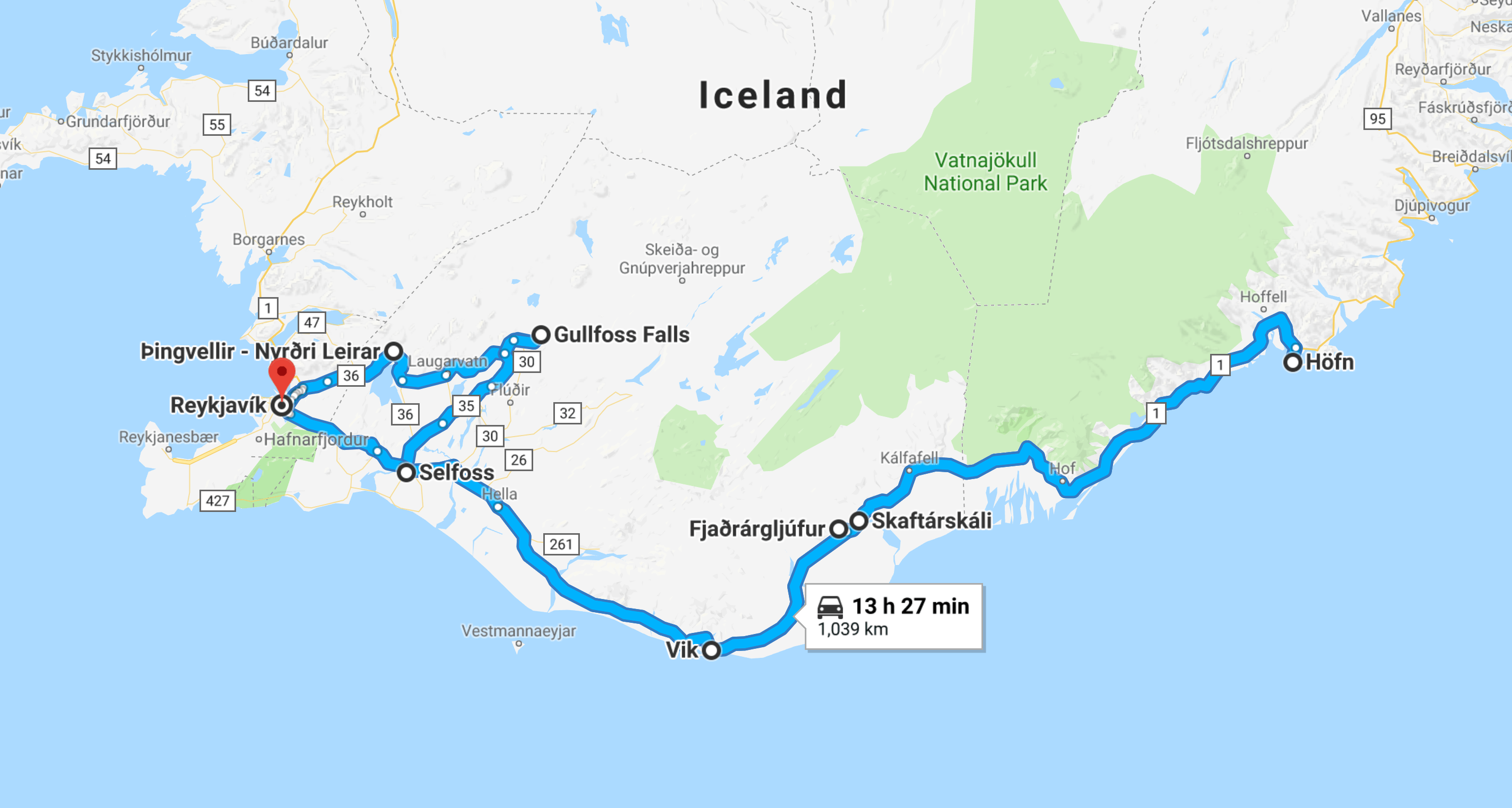 5 Day Iceland Road Trip Map