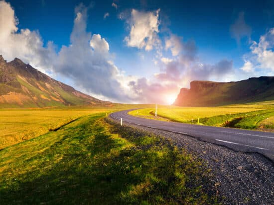 stunning sunset on the road while driving in iceland