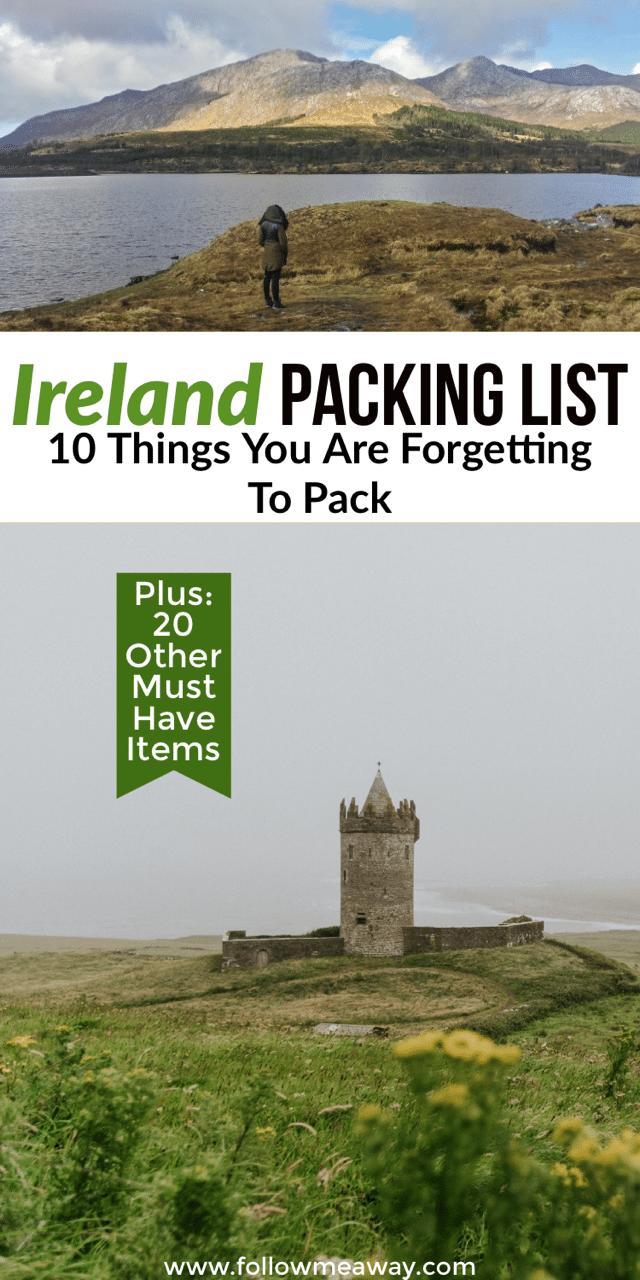 Ireland Packing List: 10 Things You Are Forgetting To Bring | What to pack for ireland | what to wear in ireland | what to bring to Ireland | packing for ireland | Ireland travel tips #ireland #packing #packinglist #irish #traveltips #irelandtravel #irishgirl #europe