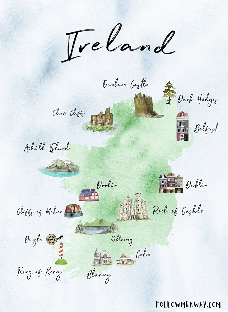 The Perfect Ireland Road Trip Map | Inspiring Map Of Ireland | Pin this map of Ireland to inspire you to plan your trip to Ireland! | This cute Ireland map will get you excited for travel to Ireland! #ireland #map