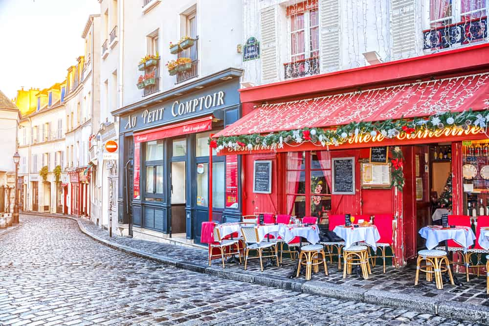 cute cafe decked out for a Paris winter with Christmas lights