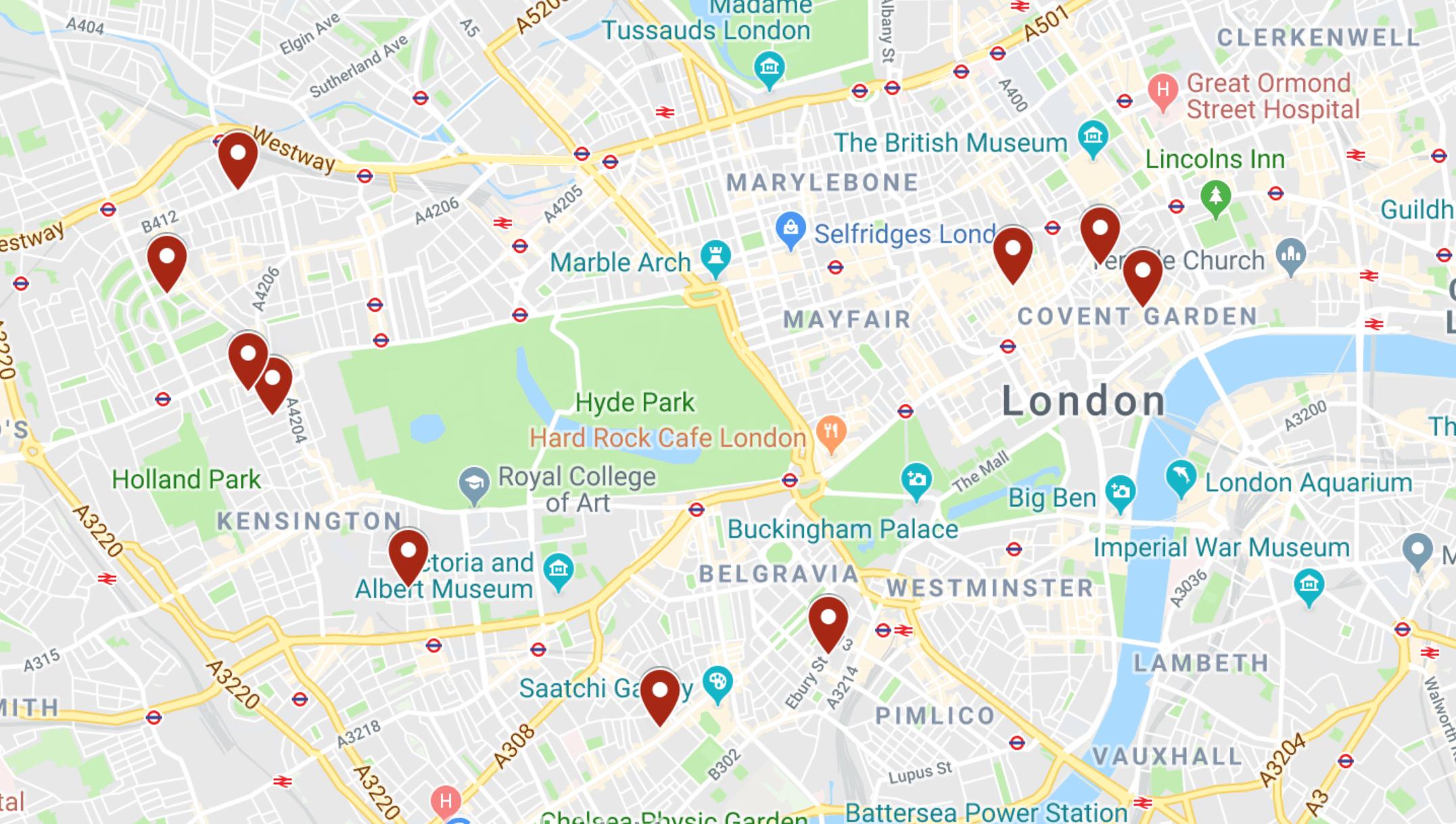 Map Of The Prettiest Streets In London | London Street Map