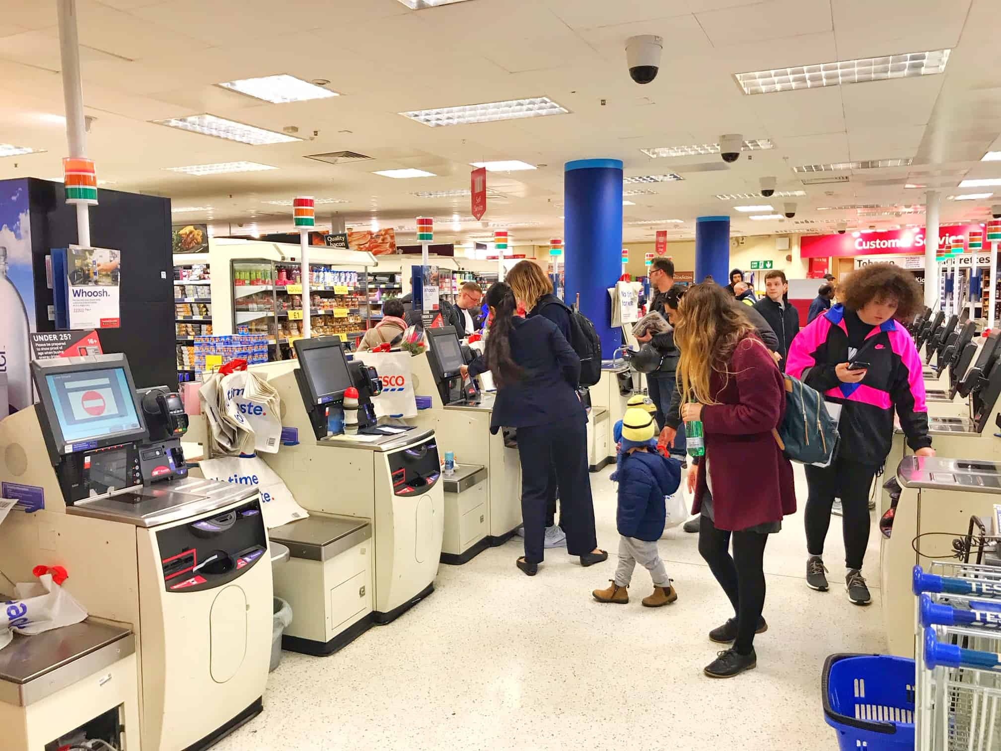 self checkout is popular at supermarkets and grocery stores in london
