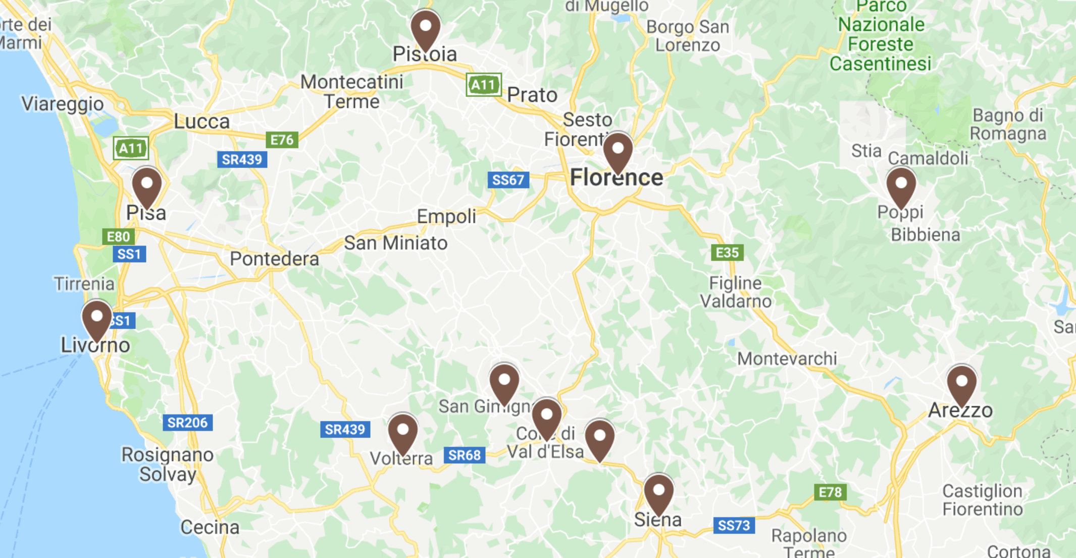 Tuscany Road Trip Map Of Best Stops In Italy | Map Of Best Road Trip Stops In Tuscany