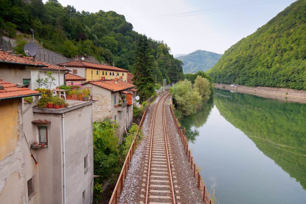 train tracks through Tuscany Italy