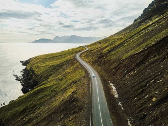Driving along the coast of Iceland on an Iceland road trip during a 5 day Iceland itinerary