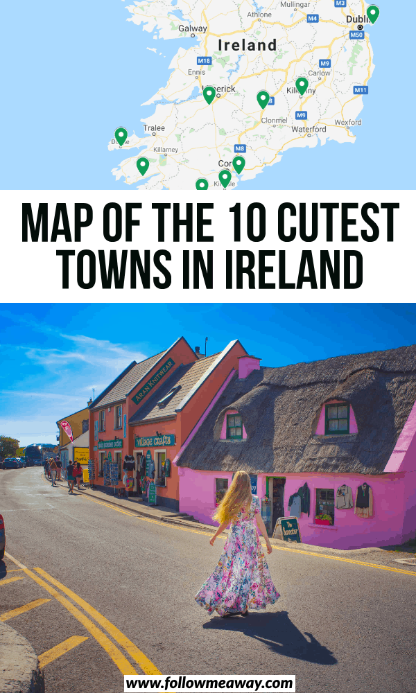 map of the 10 cutest towns in ireland