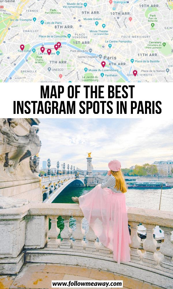 map of the best instagram spots in paris