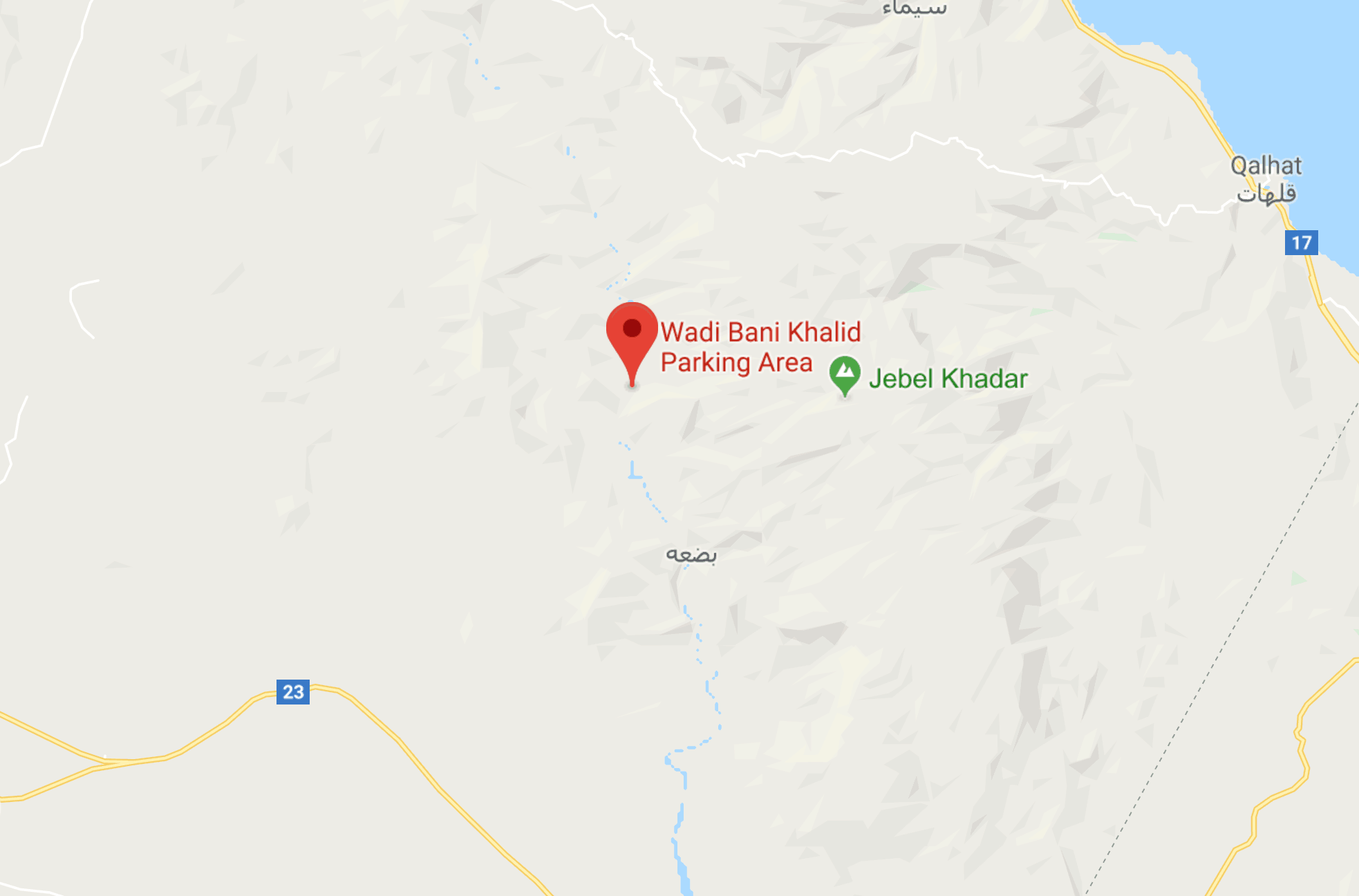 Map to find Wadi Bani Khalid in Oman