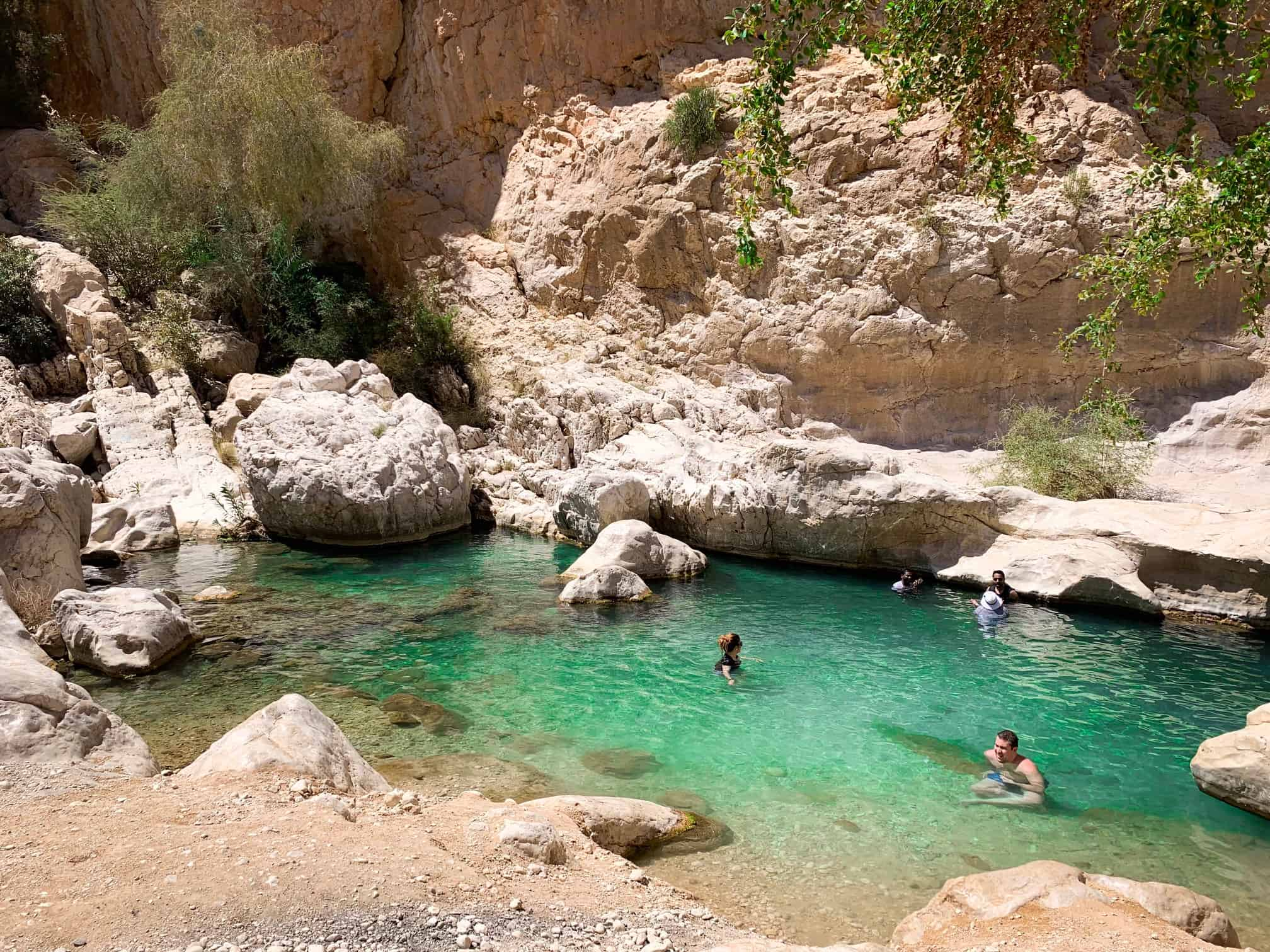 small beach area at Wadi Bani Khalid in Oman