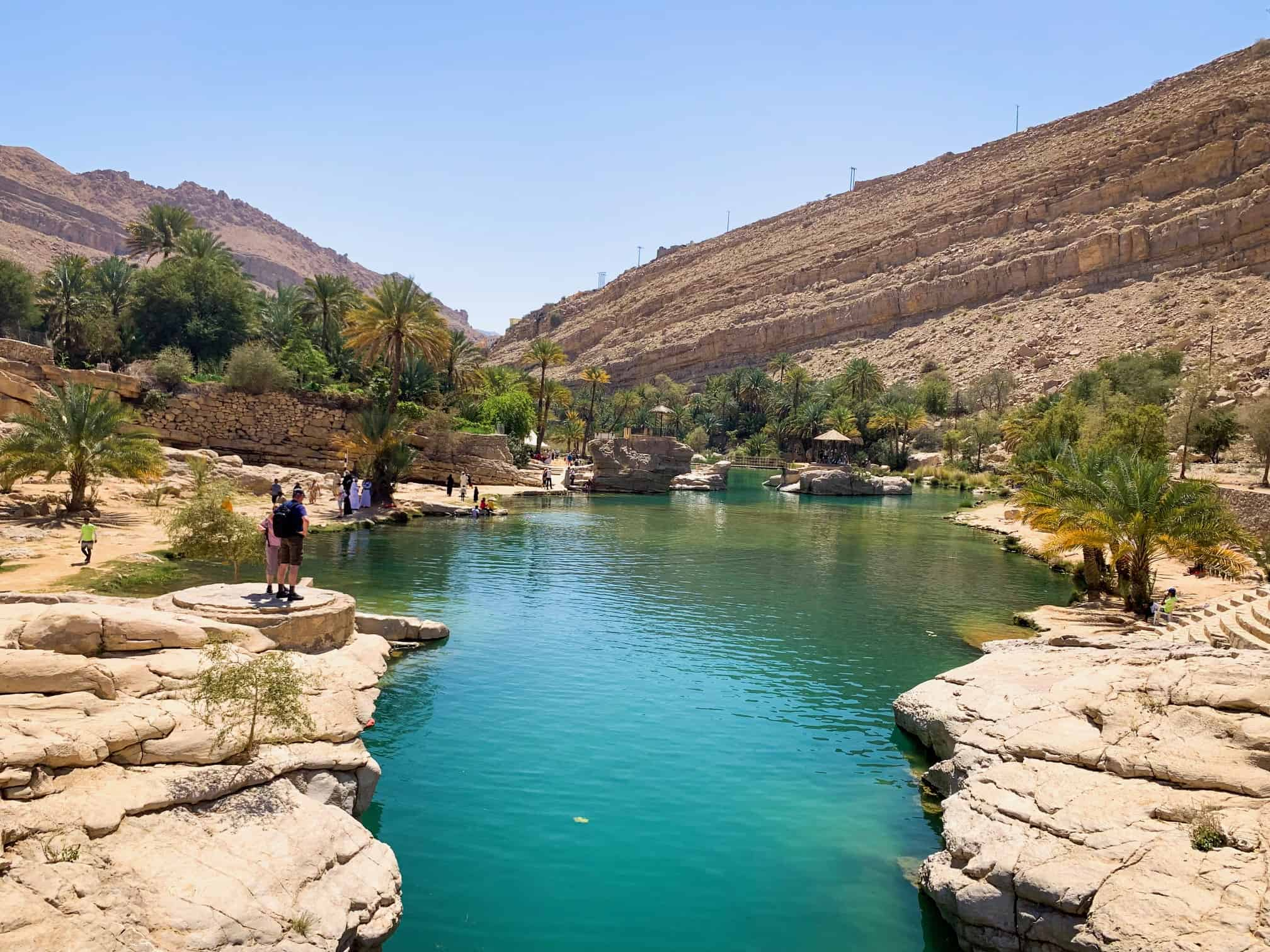 Swimming at the large pool at Wadi Bani Khalid