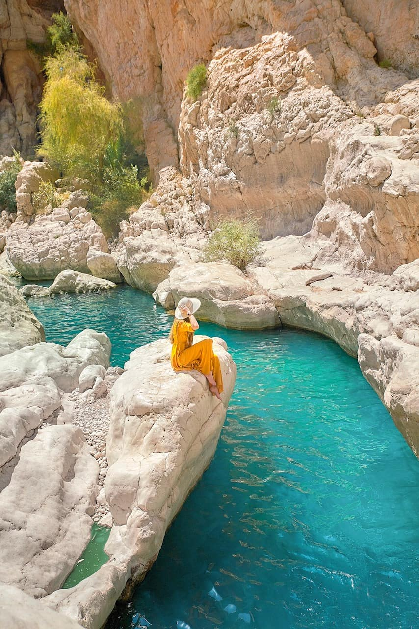 Beautiful blue pools at Wadi Bani Khalid in Oman