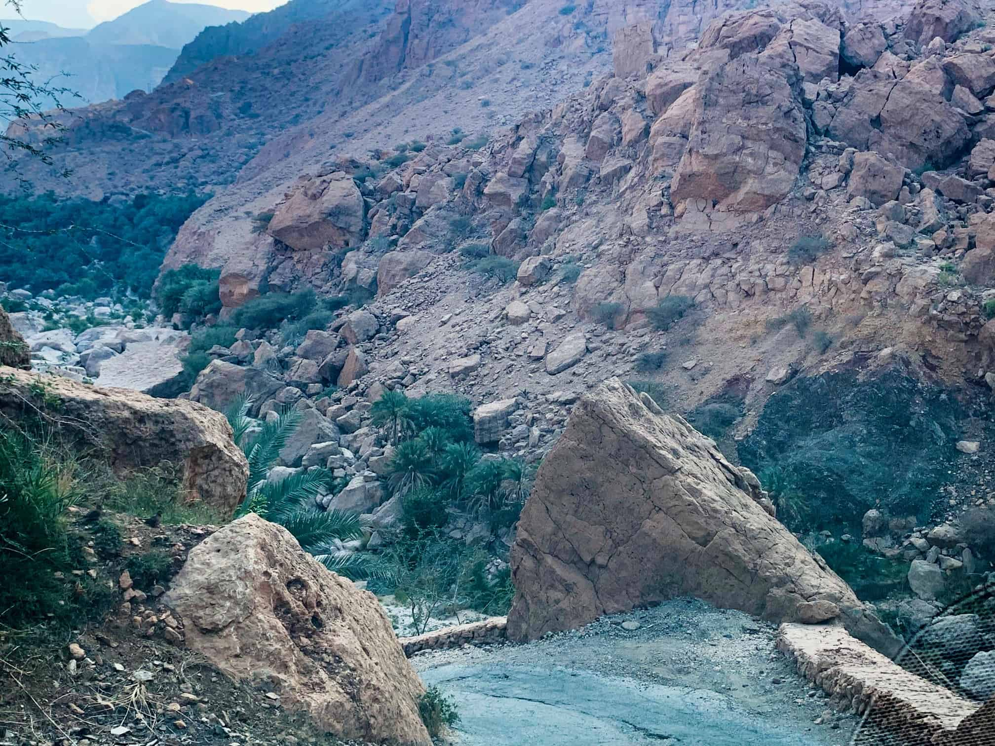 Difficult roads in Wadi Tiwi