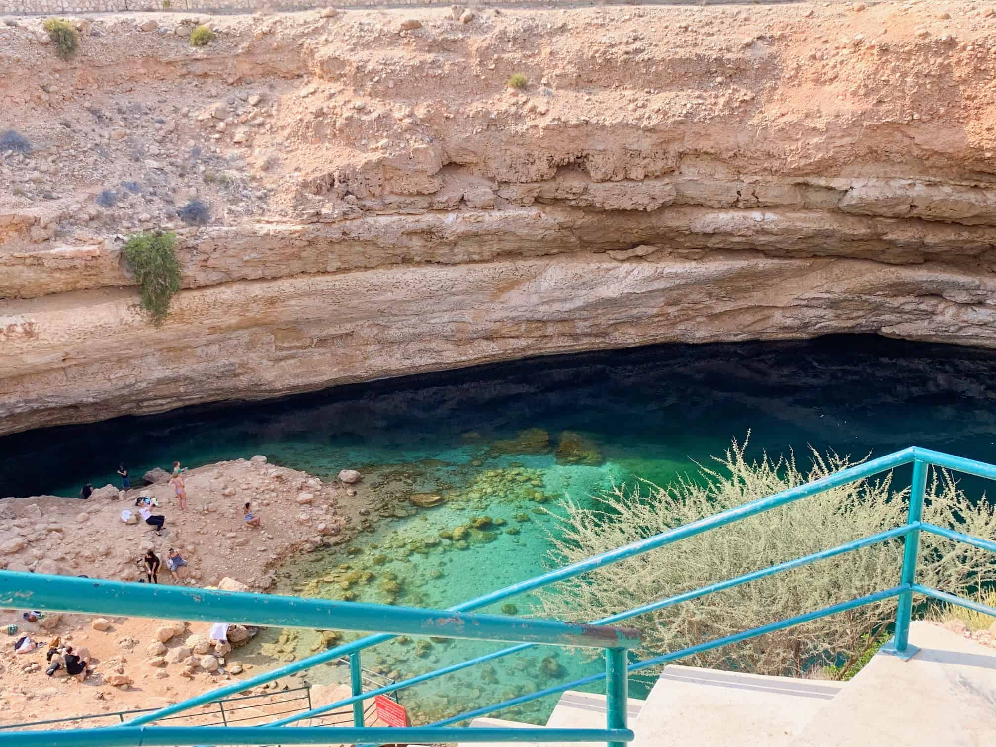 Stairwell down into Bimmah Sinkhole in Oman