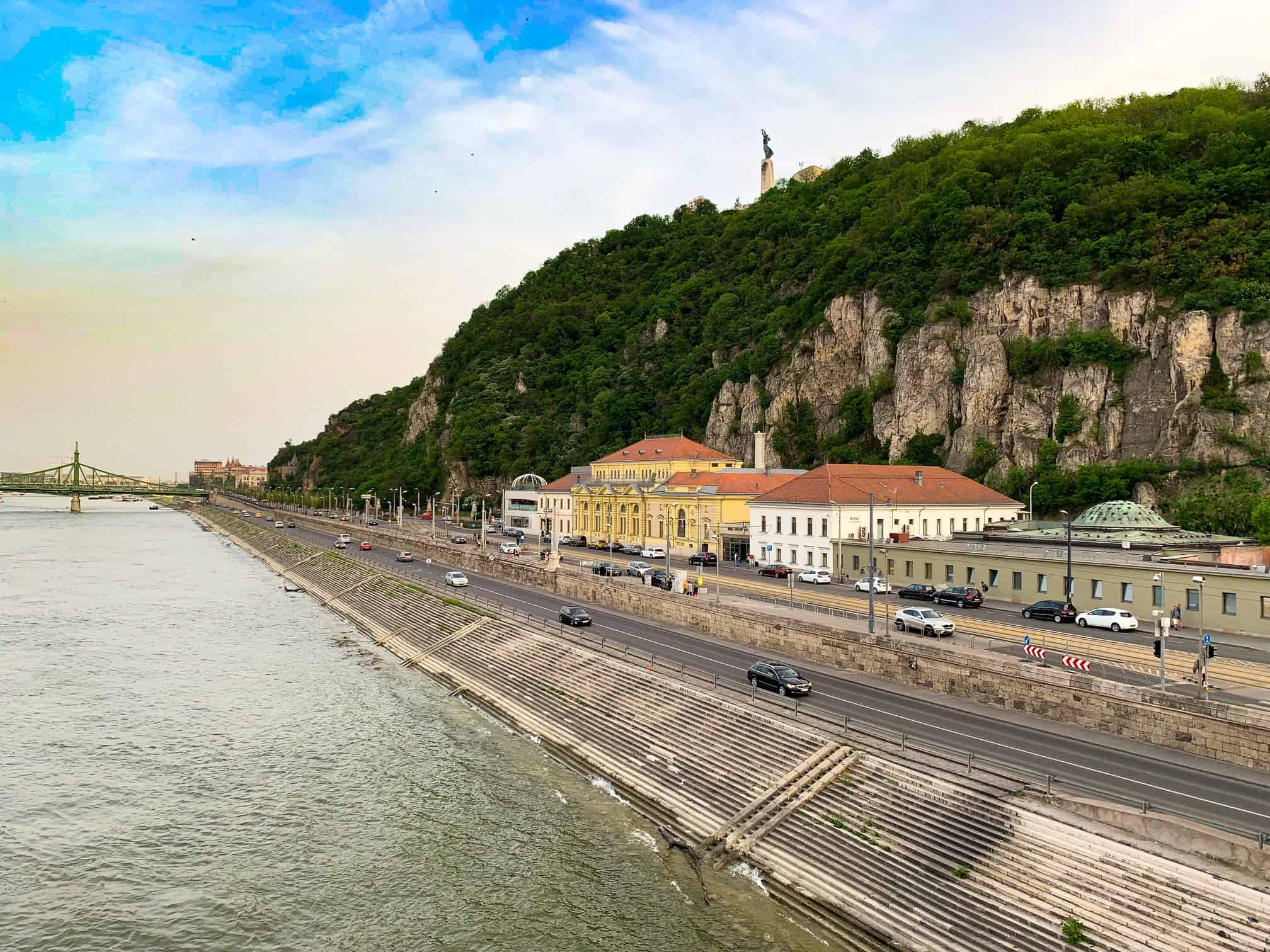 This is what the exterior of Rudas Baths Budapest looks like along the Danube