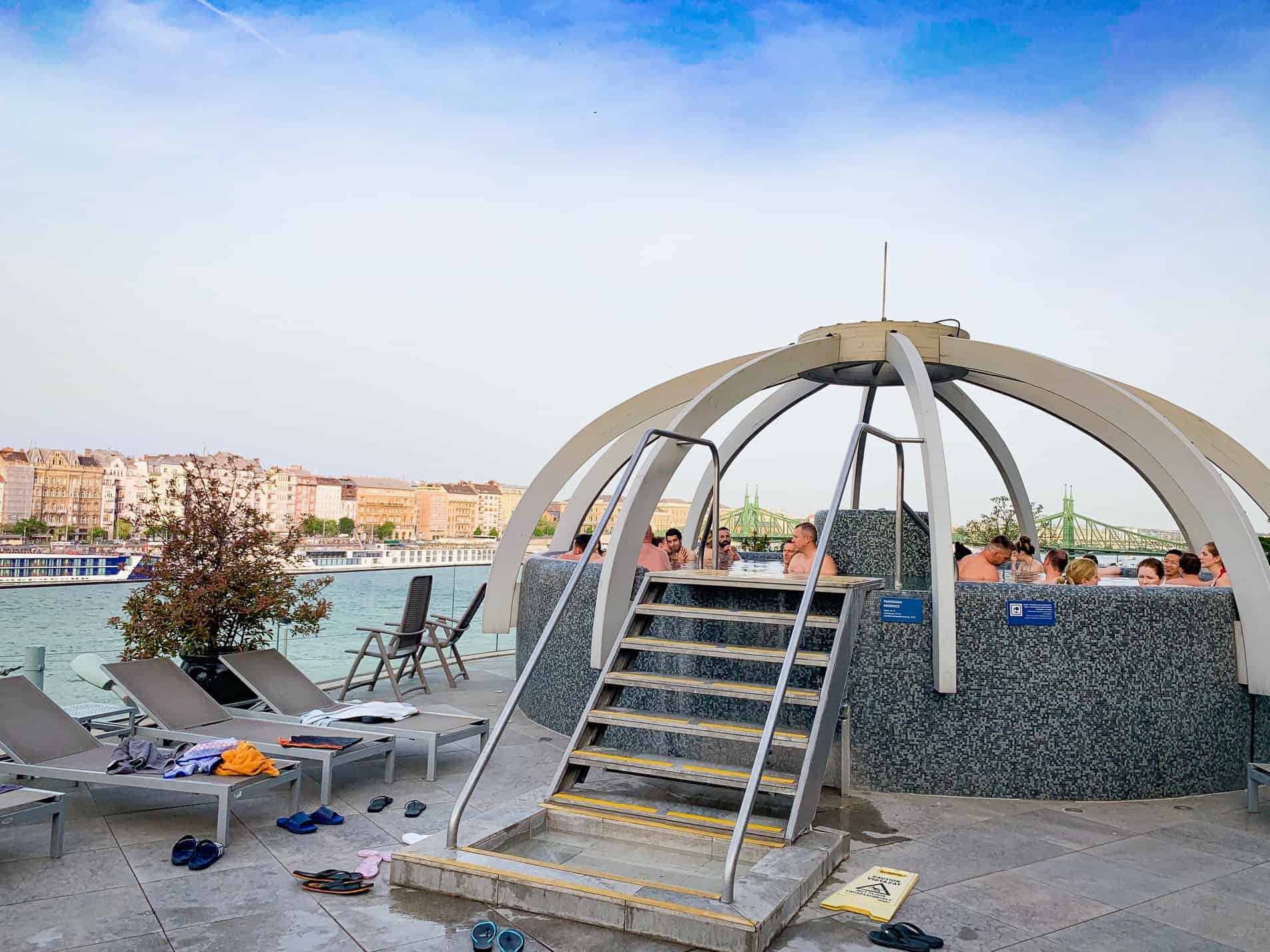 The rooftop panormaic pool at Rudas Baths Budapest