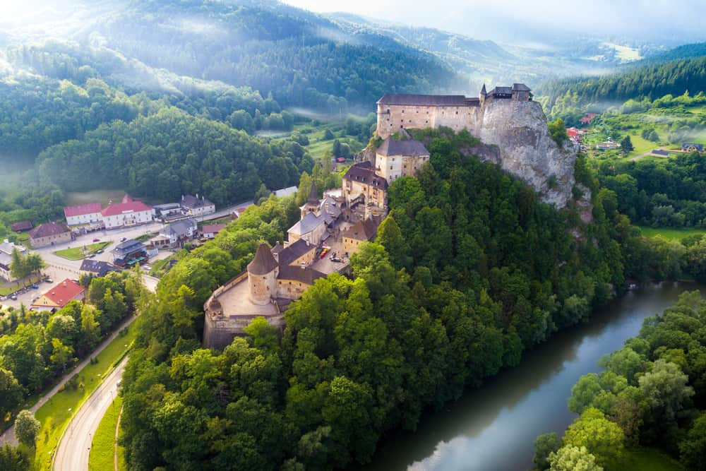 castles in Europe find unique land to build on and Orava Castle sits on a giant rock out cropping