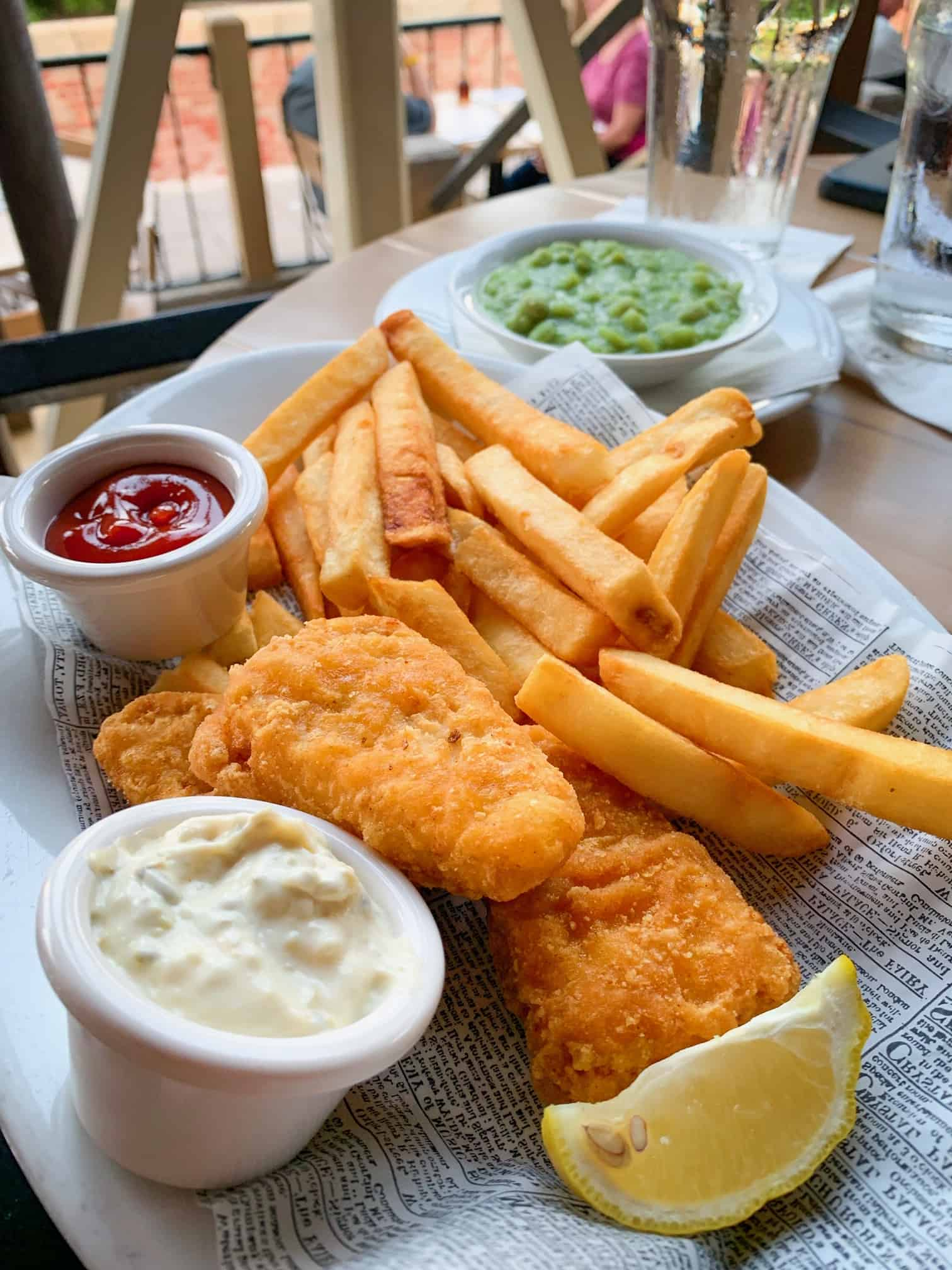 Vegan fish and chips at Epcot are a must when planning a trip to Disney