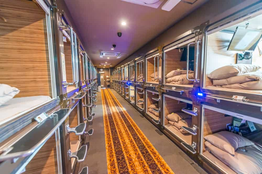 Stay in a capsule hotel when planning a trip to Japan