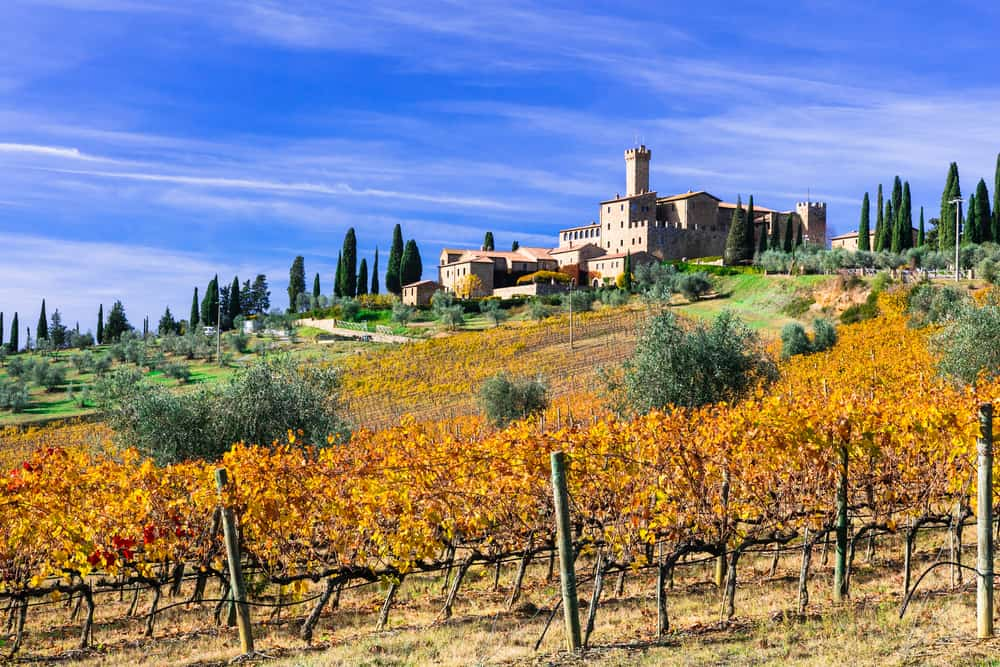 With vineyards rolling over the Hills of Tuscany, Castello di Banfi is truly a gem of a castle in Tuscany