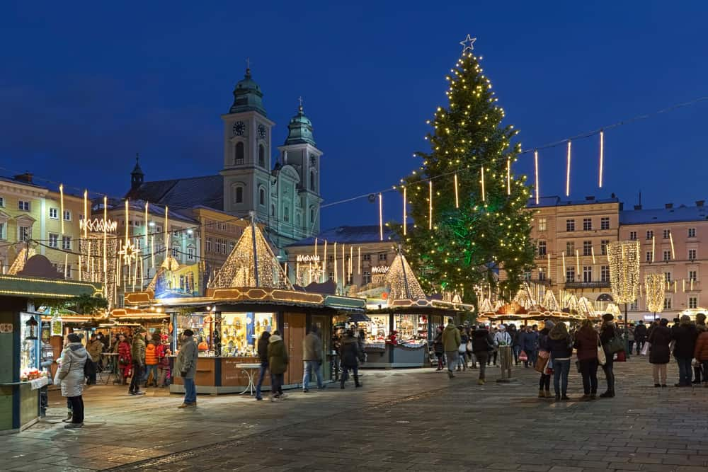 A charming view of Linz, one of the Christmas markets in Austria