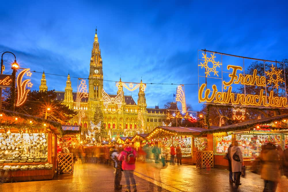 A lovely view of the Rathausplatz in Vienna, one of the Christmas markets in Austria