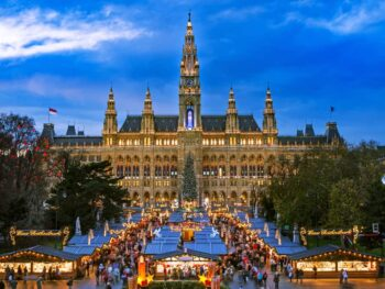 A spectacular view of Vienna and one of the Christmas markets in Austria