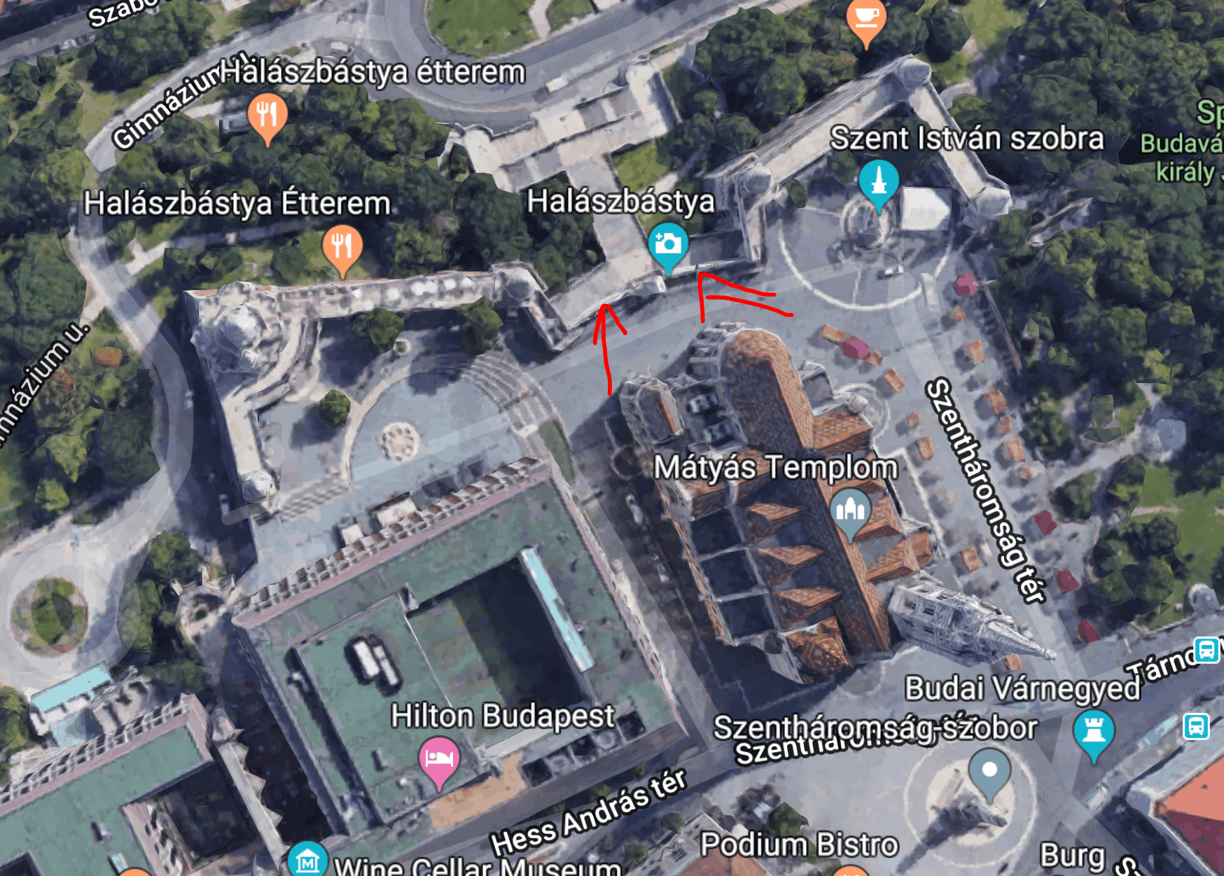 Map of fishermans bastion in center