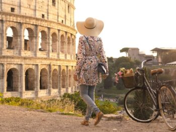 photo of woman wearing anti-theft purse she added to her Italy packing list