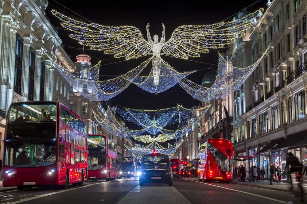 London in winter, buses and Christmas lights on Regent Street
