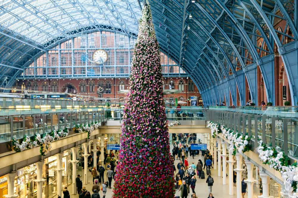 London in winter, St. Pancras station decked in Christmas decor