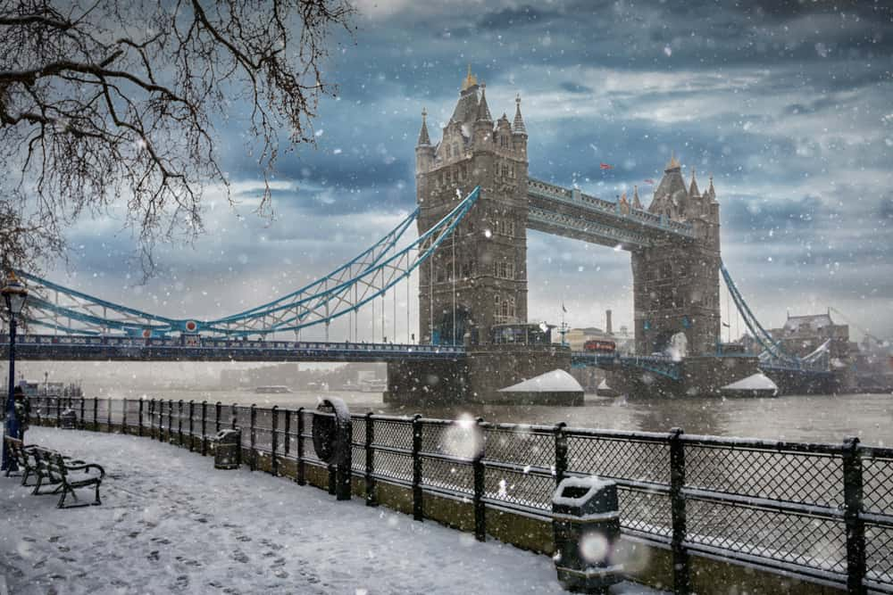 London in winter, the Tower Bridge in snow