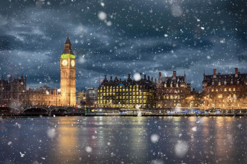 London in winter, Big Ben and Westminster in snow