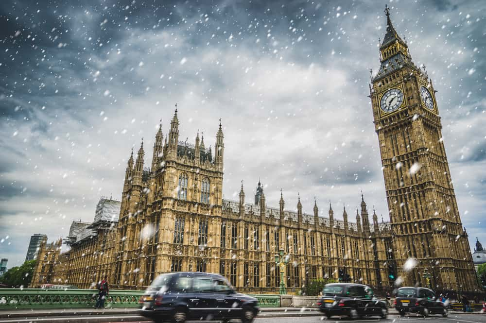 London in winter, a view of Big Ben and Westminster