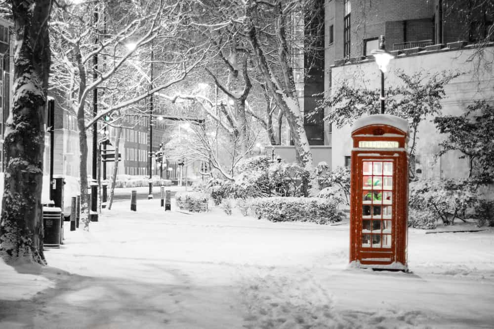 London in winter, a phone booth in Westminster covered in snow