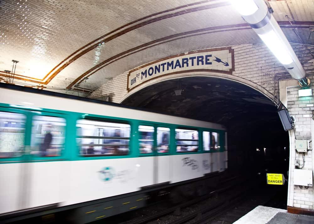 Paris metro station in Montmartre interior