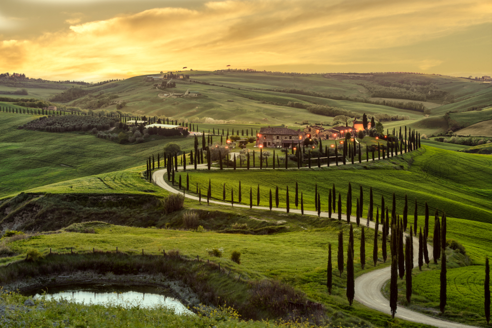 rolling hills in Tuscany Italy
