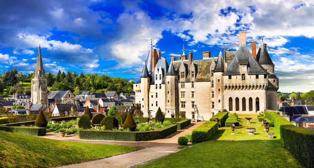 a beautiful view of Chateau de Langeais castle in france