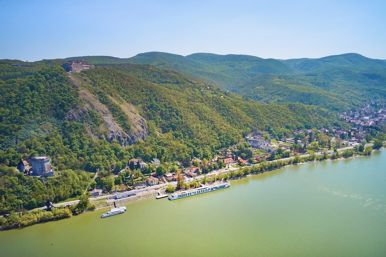 Drone view of crystal river cruises ship docked in Hungary
