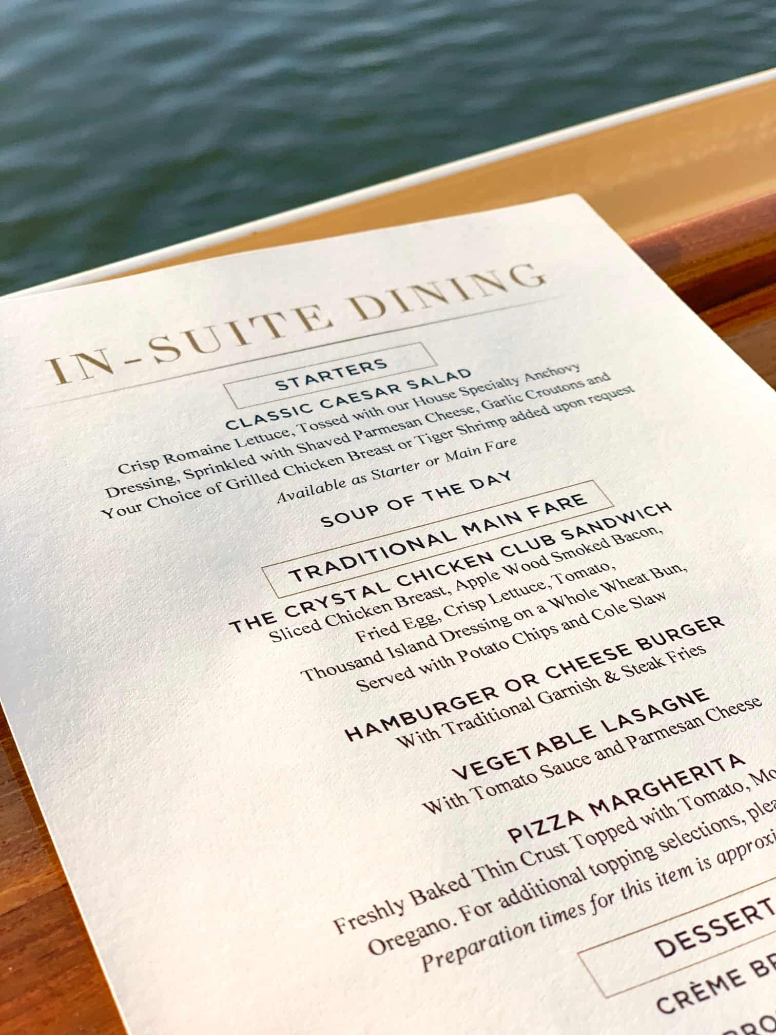Menu on crystal cruises