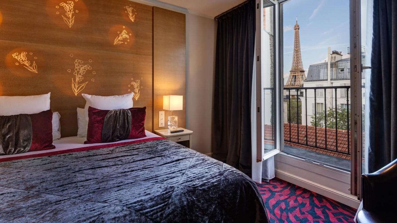 The eiffel tower view hotels are competitive, but the Muguet offers a great view!