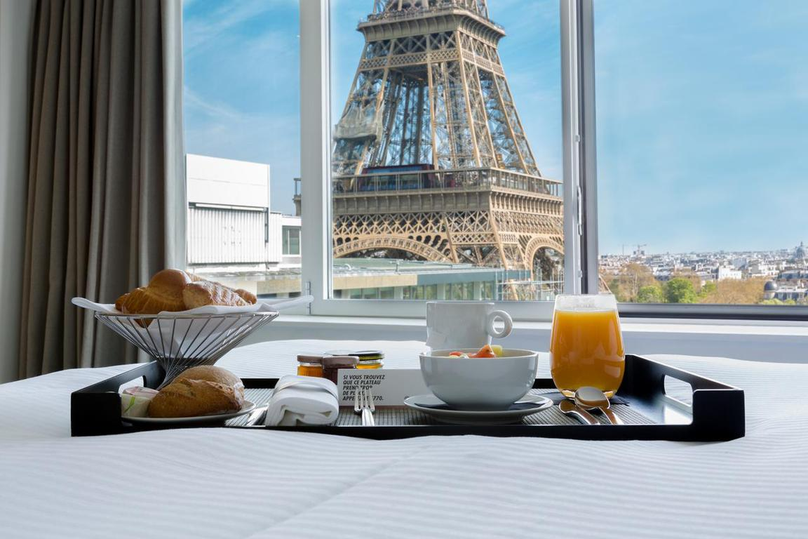 This gorgeous hotel, the Pullman, is known for it's iconic views of the Eiffel Tower!