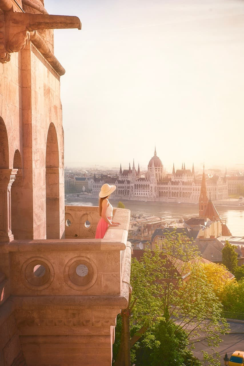 Hungarian Parliament as seen from a balcony on fisherman's Bastion