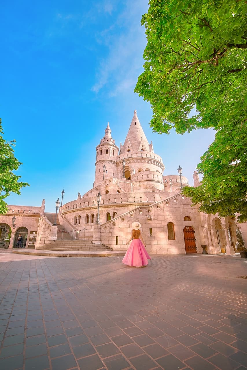 gorgeous large turret in Budapest Hungary at Fisherman's Bastion