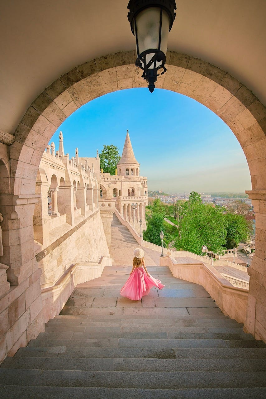 a classic view of Budapest hungary from Fisherman's Bastion