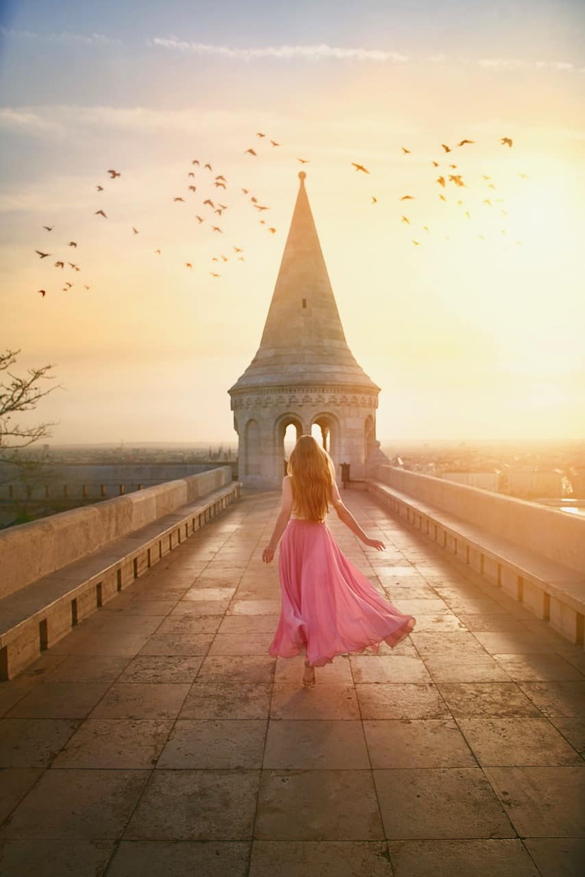 Stunning sunrise at Fisherman's Bastion with birds