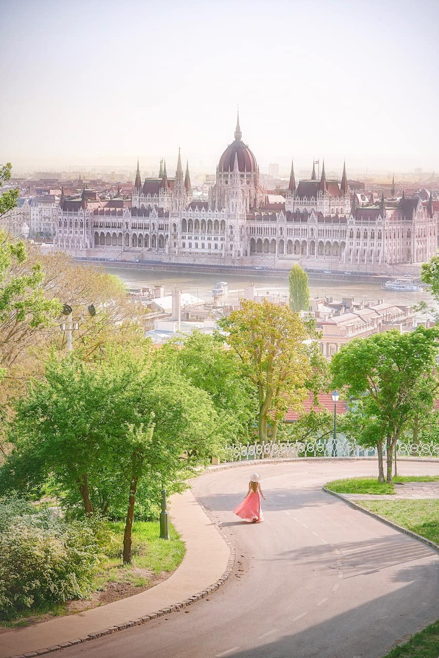 Very unique view of the Hungarian Parliament from Fisherman's Bastion