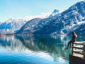 girl on dock in hallstatt austria