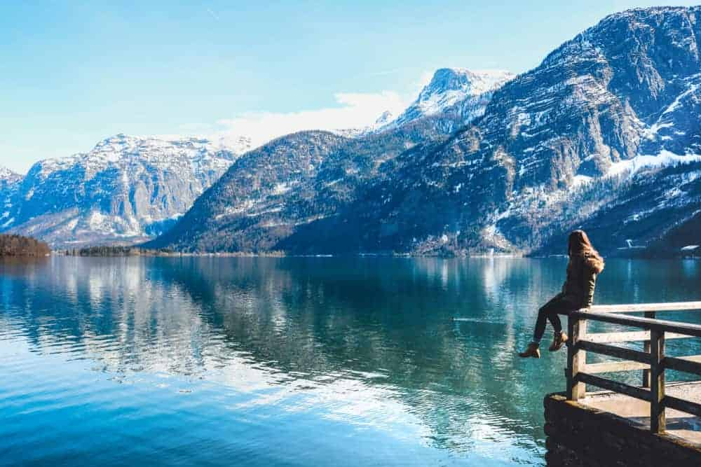 girl on dock in hallstatt austria